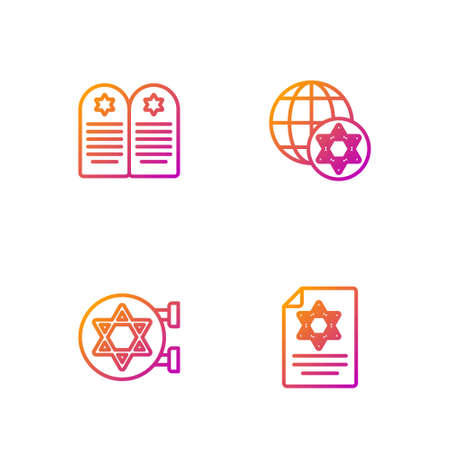 Set line Torah scroll, Jewish synagogue, Tombstone with star of david and World Globe and Israel. Gradient color icons. Vector  イラスト・ベクター素材