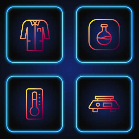Set line Electronic scales, Medical thermometer, Laboratory uniform and Test tube and flask. Gradient color icons. Vector
