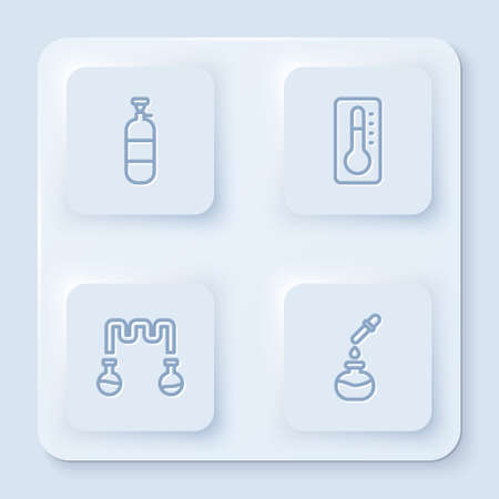 Set line Propane gas tank, Medical thermometer, Test tube and flask and . White square button. Vector