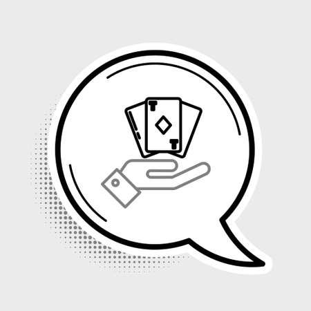 Line Hand holding deck of playing cards icon isolated on grey background. Casino gambling. Colorful outline concept. Vector