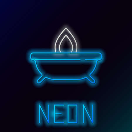 Glowing neon line Aroma candle icon isolated on black background. Colorful outline concept. Vector