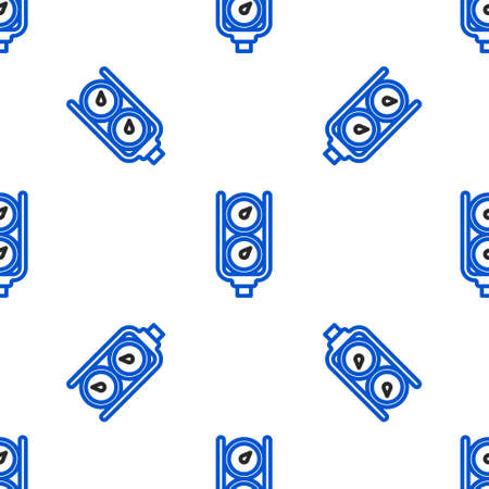 Line Gauge scale icon isolated seamless pattern on white background. Satisfaction, temperature, manometer, risk, rating, performance, speed tachometer. Colorful outline concept. Vector