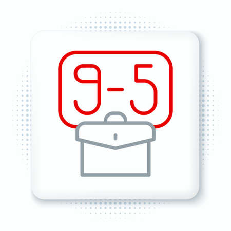 Line From 9:00 to 5:00 job icon isolated on white background. Concept meaning work time schedule daily routine classic traditional employment. Colorful outline concept. Vector Vector Illustratie