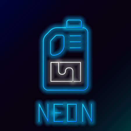Glowing neon line Drain cleaner bottle icon isolated on black background. Water pipes cleaning. Plumbing repair symbol. Colorful outline concept. Vector