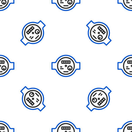 Line Water meter icon isolated seamless pattern on white background. Colorful outline concept. Vector