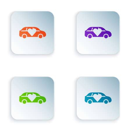Color Luxury limousine car icon isolated on white background. For world premiere celebrities and guests poster. Set colorful icons in square buttons. Vector 向量圖像