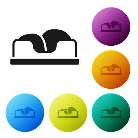 Black Pet bed icon isolated on white background. Set icons in color circle buttons. Vector