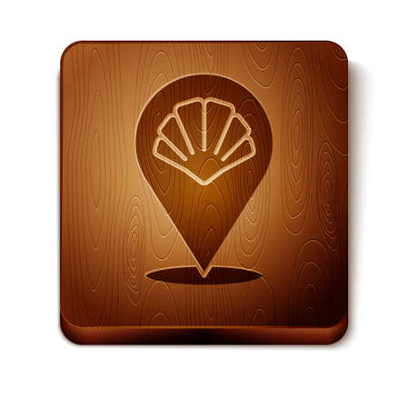 Brown Scallop sea shell icon isolated on white background. Seashell sign. Wooden square button. Vector