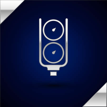 Silver Gauge scale icon isolated on dark blue background. Satisfaction, temperature, manometer, risk, rating, performance, speed tachometer. Vector Ilustrace