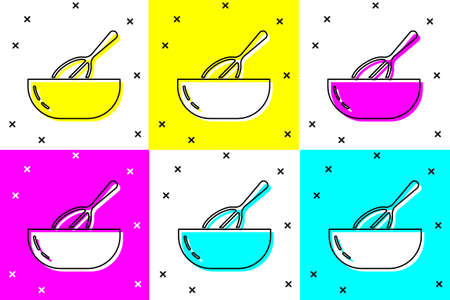 Set Kitchen whisk and bowl icon isolated on color background. Cooking utensil, egg beater. Cutlery sign. Food mix symbol. Vector
