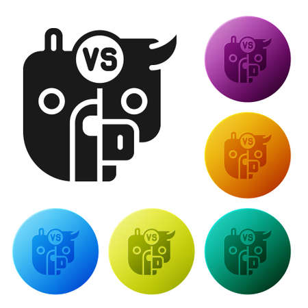 Black Bull and bear symbols of stock market trends icon isolated on white background. The growing and falling market. Wild Animals. Set icons in color circle buttons. Vector