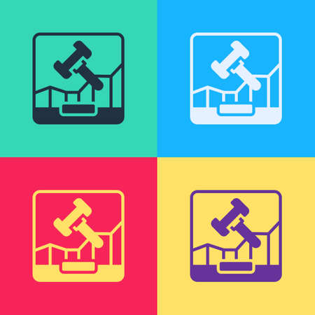 Pop art Online internet auction icon isolated on color background. International trade concept. Investment, stock market exchange and trading. Vector