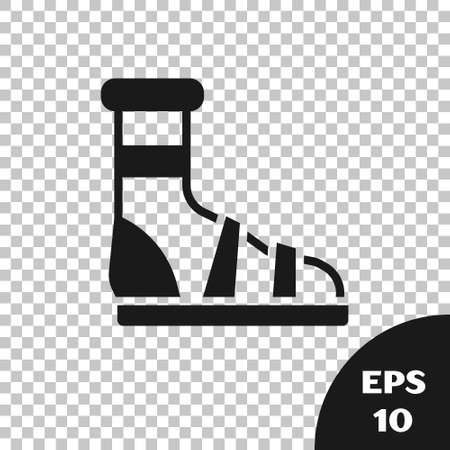 Black Slippers with socks icon isolated on transparent background. Beach slippers sign. Flip flops. Vector