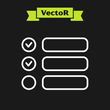 White line Task list icon isolated on black background. Control list symbol. Survey poll or questionnaire feedback form. Vector Illustration