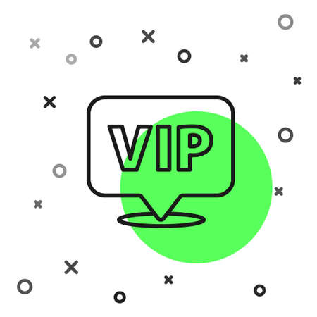 Black line Location Vip icon isolated on white background. Vector