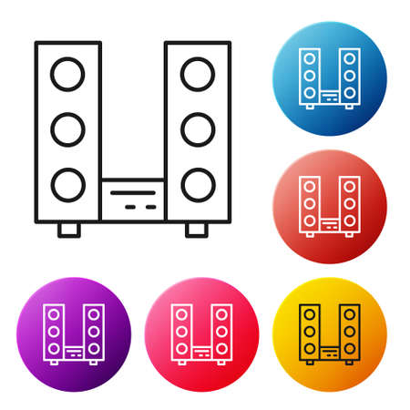 Black line Home stereo with two speaker s icon isolated on white background. Music system. Set icons colorful circle buttons. Vector