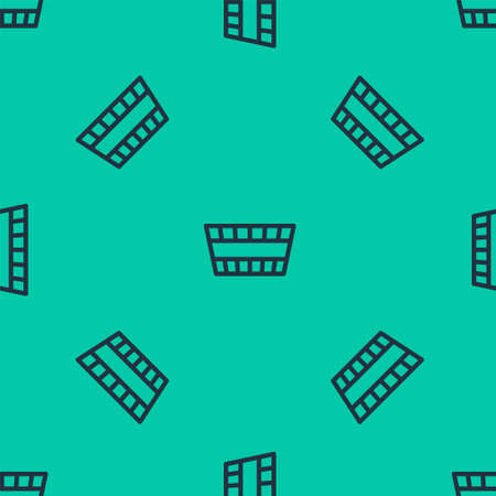 Blue line Sauna bucket icon isolated seamless pattern on green background. Vector