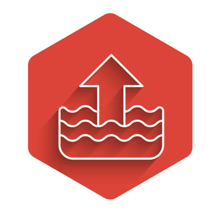 White line Rise in water level icon isolated with long shadow. Red hexagon button. Vector