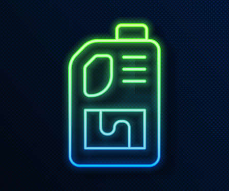 Glowing neon line Drain cleaner bottle icon isolated on blue background. Water pipes cleaning. Plumbing repair symbol. Vector