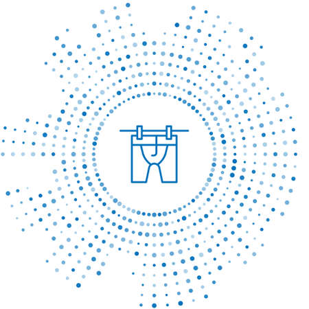 Blue line Drying clothes icon isolated on white background. Clean shirt. Wash clothes on a rope with clothespins. Clothing care and tidiness. Abstract circle random dots. Vector