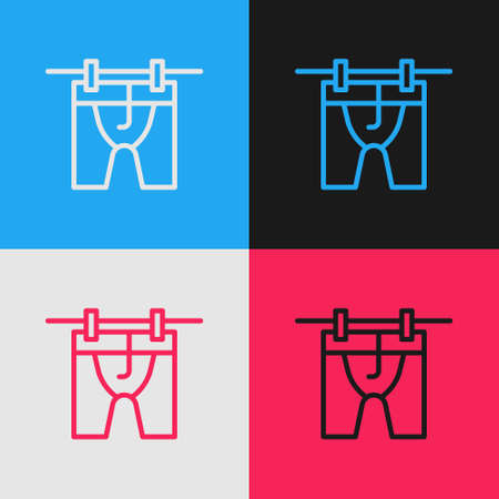 Pop art line Drying clothes icon isolated on color background. Clean shirt. Wash clothes on a rope with clothespins. Clothing care and tidiness. Vector