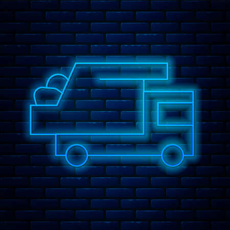 Glowing neon line Garbage truck icon isolated on brick wall background. Vector
