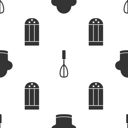 Set Chef hat, Kitchen whisk and Salt on seamless pattern. Vector