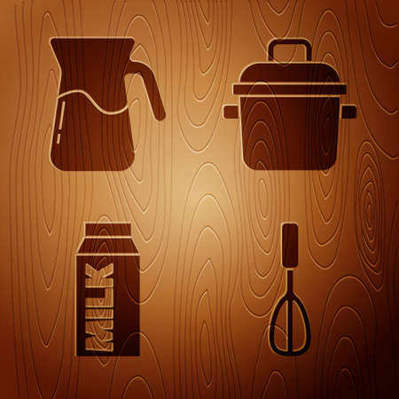 Set Kitchen whisk, Jug glass with water, Paper package for milk and Cooking pot on wooden background. Vector
