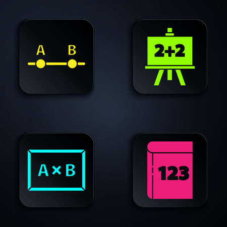 Set Book with word mathematics, Graph, schedule, chart, diagram, Chalkboard and Chalkboard. Black square button. Vector