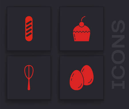 Set Easter eggs, French baguette bread, Cake and Kitchen whisk icon. Vector
