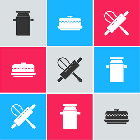 Set Can container for milk, Cake and Kitchen whisk and rolling pin icon. Vector