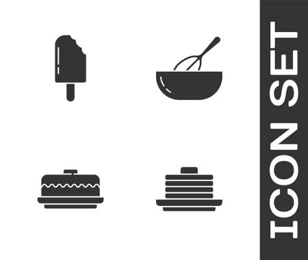 Set Stack of pancakes, Ice cream, Cake and Kitchen whisk and bowl icon. Vector
