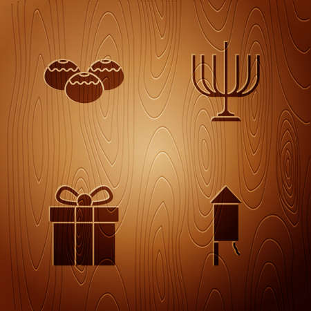 Set Firework rocket, Jewish sweet bakery, Gift box and Hanukkah menorah on wooden background. Vector
