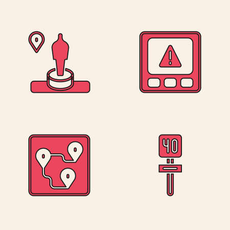 Set Road traffic sign, Location and monument, Gps device error and Route location icon. Vector