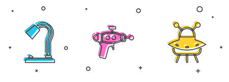 Set Table lamp, Ray gun and UFO flying spaceship icon. Vector  イラスト・ベクター素材