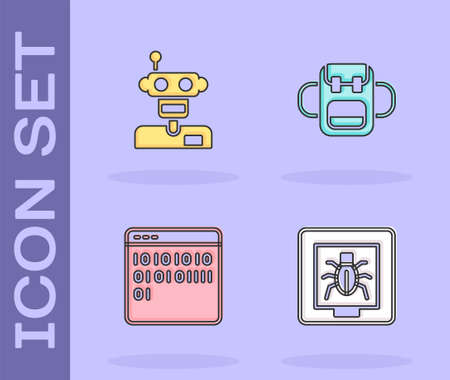Set Insects in a frame, Robot, Binary code and School backpack icon. Vector