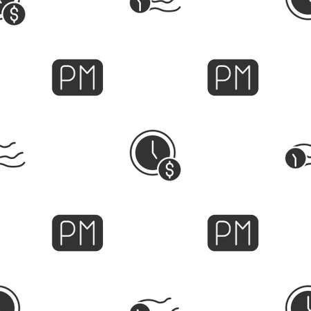 Set Time flies on the clock, is money and Day time on seamless pattern. Vector
