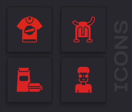 Set Nerd geek, T-shirt, Viking in horned helmet and Burger icon. Vector