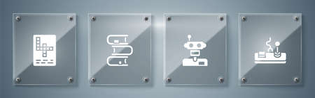 Set Gamepad, Robot, Book and Crossword. Square glass panels. Vector