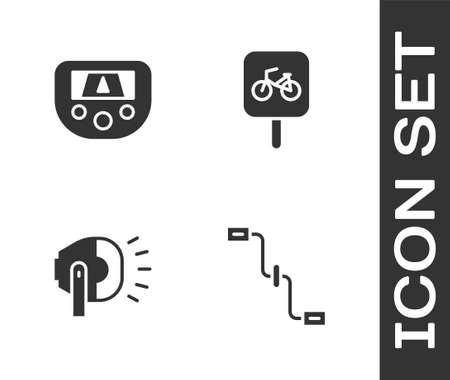 Set Bicycle pedals, Gps device with map, head lamp and parking icon. Vector