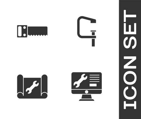 Set Computer monitor service, Hand saw, Graphing paper wrench and Clamp screw tool icon. Vector Ilustração