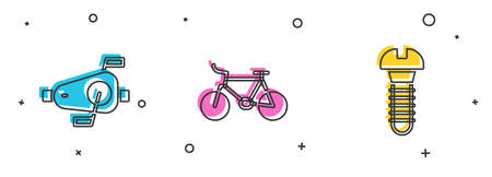 Set Bicycle pedals, and Metallic screw icon. Vector