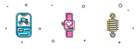 Set Bicycle rental mobile app, Smart watch and suspension icon. Vector Ilustração