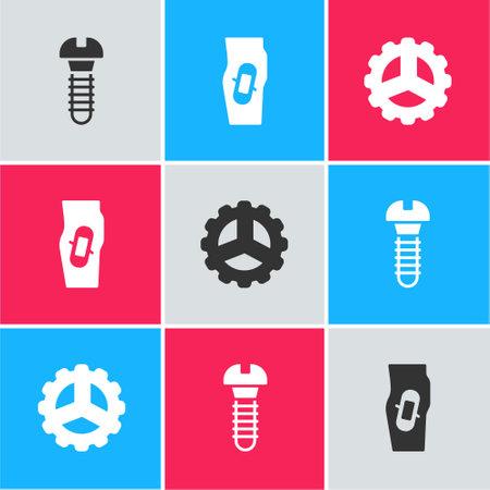 Set Metallic screw, Plaster on leg and Bicycle sprocket crank icon. Vector
