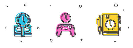 Set Time is money, Gamepad of time and Daily paper notepad icon. Vector