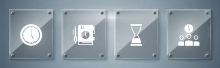 Set Time Management, Old hourglass with sand, Daily paper notepad and Clock. Square glass panels. Vector