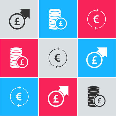 Set Financial growth and pound, Coin money with and euro symbol icon. Vector