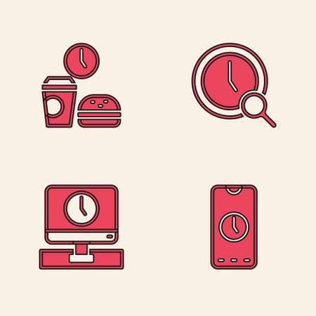 Set Alarm clock app mobile, Fast food time, Magnifying glass with and Monitor icon. Vector Ilustração