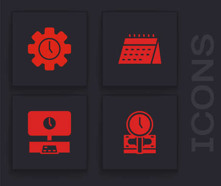 Set Time is money, Management, Calendar and Smart Tv time icon. Vector