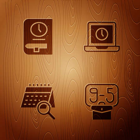 Set From 9, Time for book, Calendar search and Laptop time on wooden background. Vector